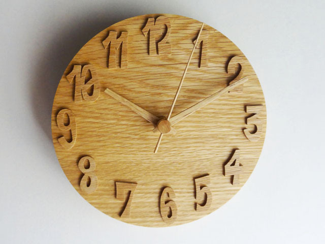 木の掛け時計/オーク/18cm/受注生産品/WC-OO18BS