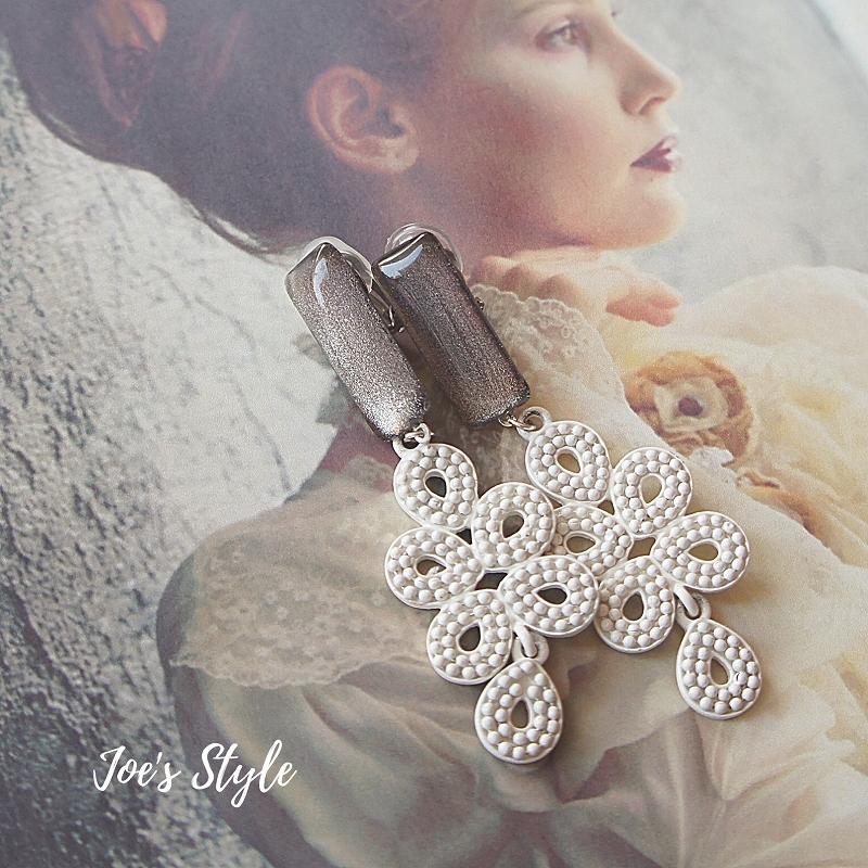 """ Earrings NO.1-1767″ スペインレース風チャーム&ペイント"