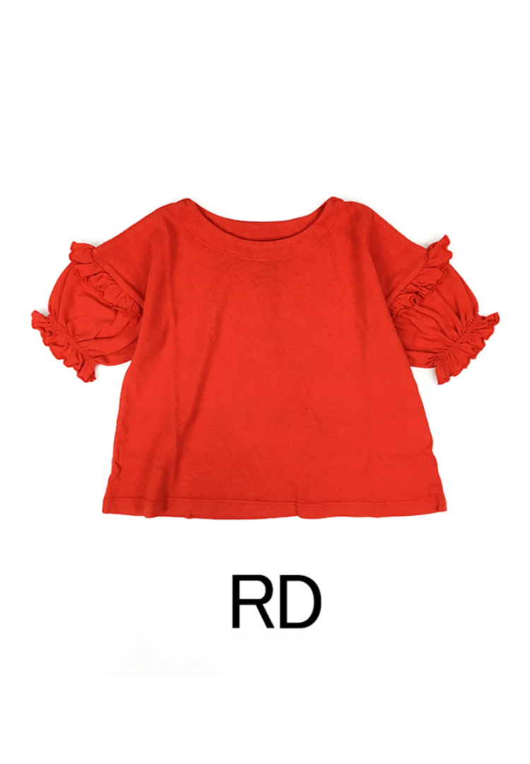 OCEAN&GROUND / FRILL SLEAVE T red