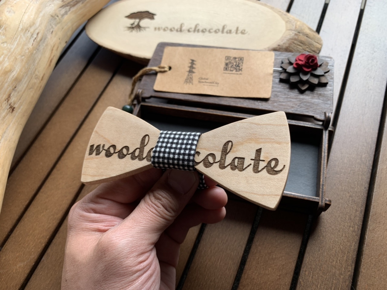 木製 蝶ネクタイ #woodchocolate - 画像3