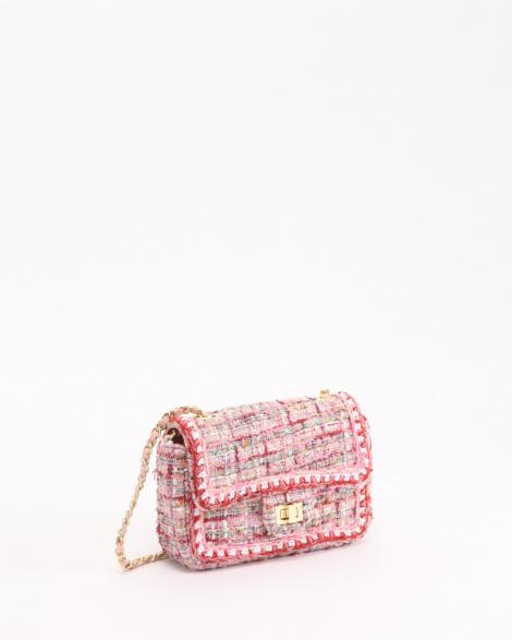 DRESドレス   ツイードチェーンショルダーミニバッグ/ピンク