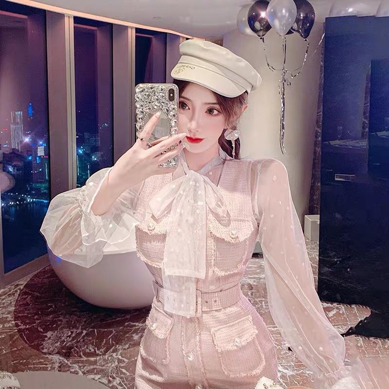 pearl line pastel dress