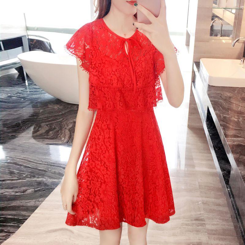 レース シフォン ワンピース トースト 花嫁 夏 結婚式 シック レトロ フリル ドレス 赤い レース T040056008
