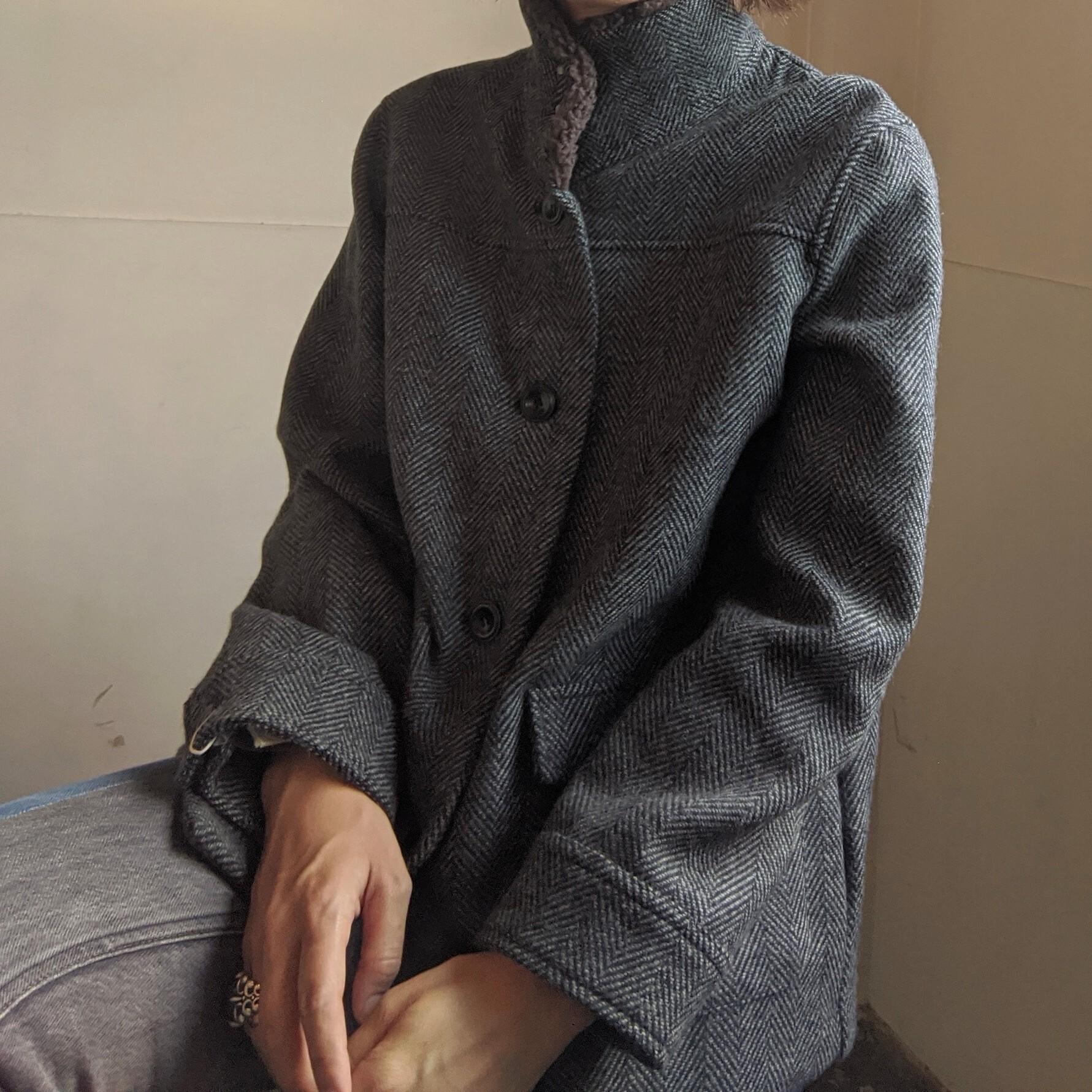 【 Dana Faneuil 】 ダナファヌル ダブルフェイスツウィードヘリンボンジャケット / グレーブラック Mサイズ