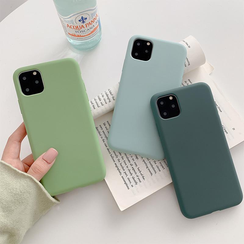 【お取り寄せ商品、送料無料】5カラー シンプル マット 無地 ソフト iPhoneケース iPhone11