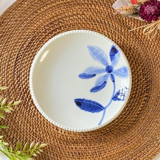花もよう(藍木蓮) いげ皿(M)