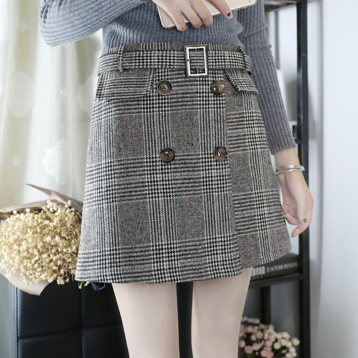 ★共布ベルト付きグレンチェック柄台形ミニスカート☆全4色♪