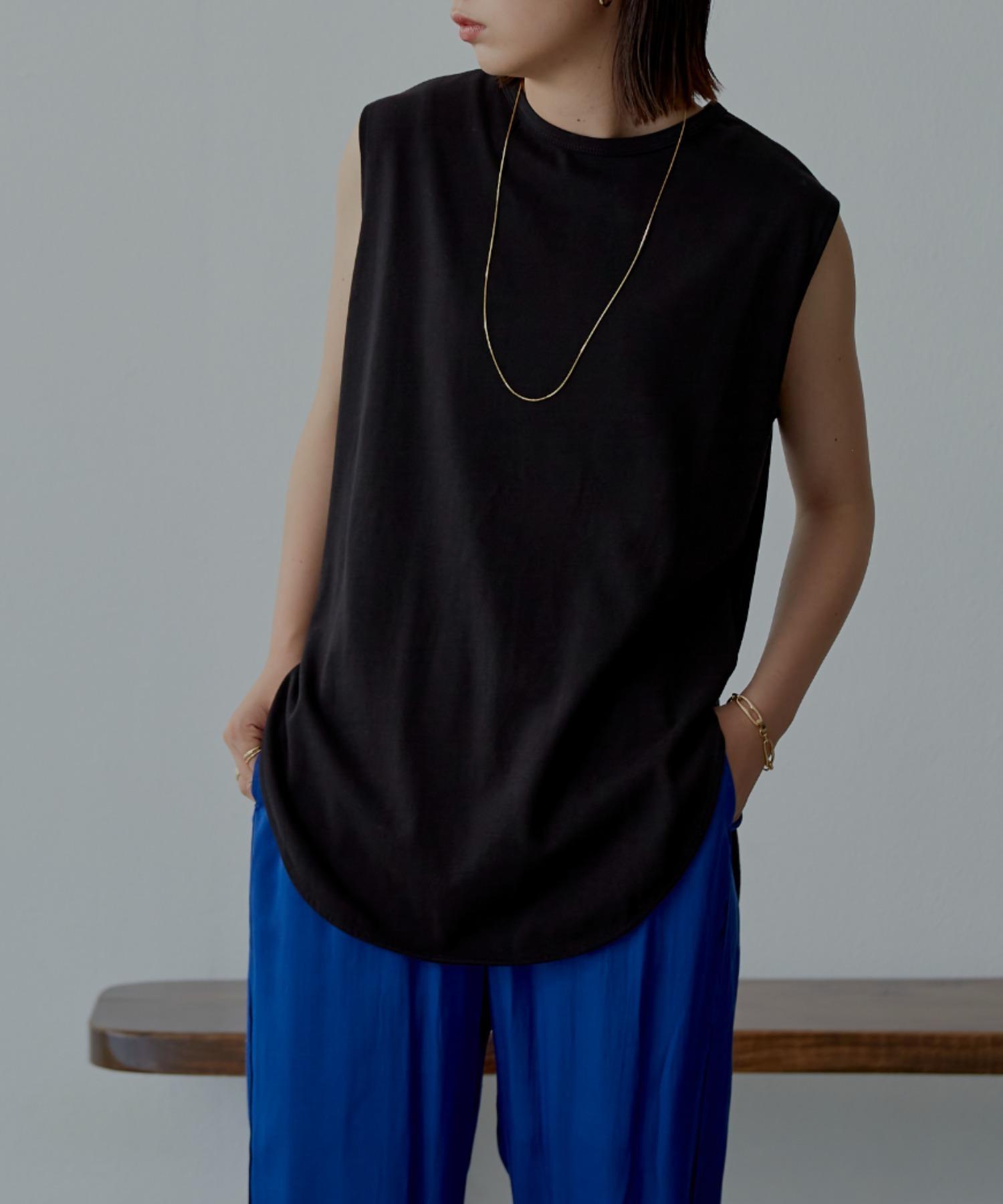 裾ラウンドスリットノースリーブTシャツ/BLK