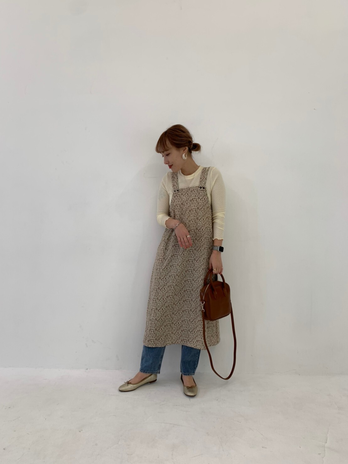 【asyu】flower salopette one-piece