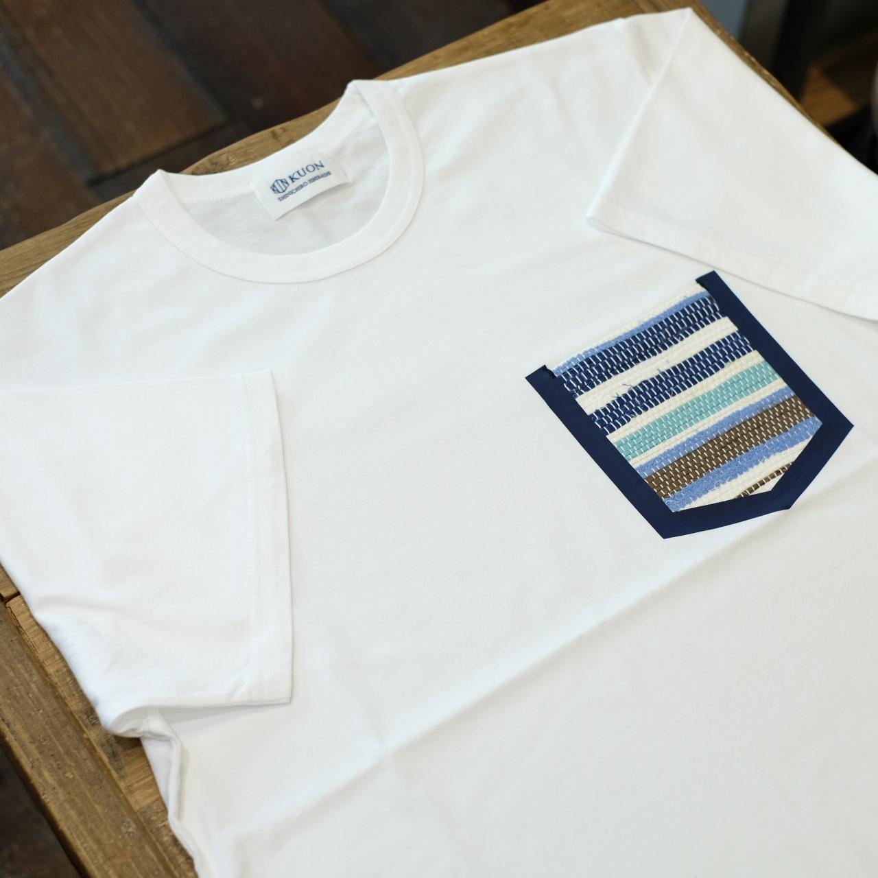 KUON(クオン) 裂織りポケットTシャツ ホワイト