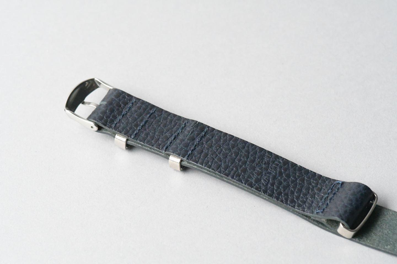 TIMEX腕時計 男女兼用・革のナトータイプベルト ■ネイビー■ _イタリアンレザー「ドラーロ」ナトータイプ腕時計付替えベルト_ - 画像3