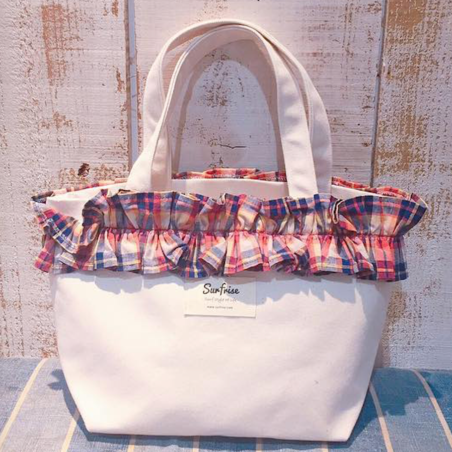 Fluffy bag - White/Check