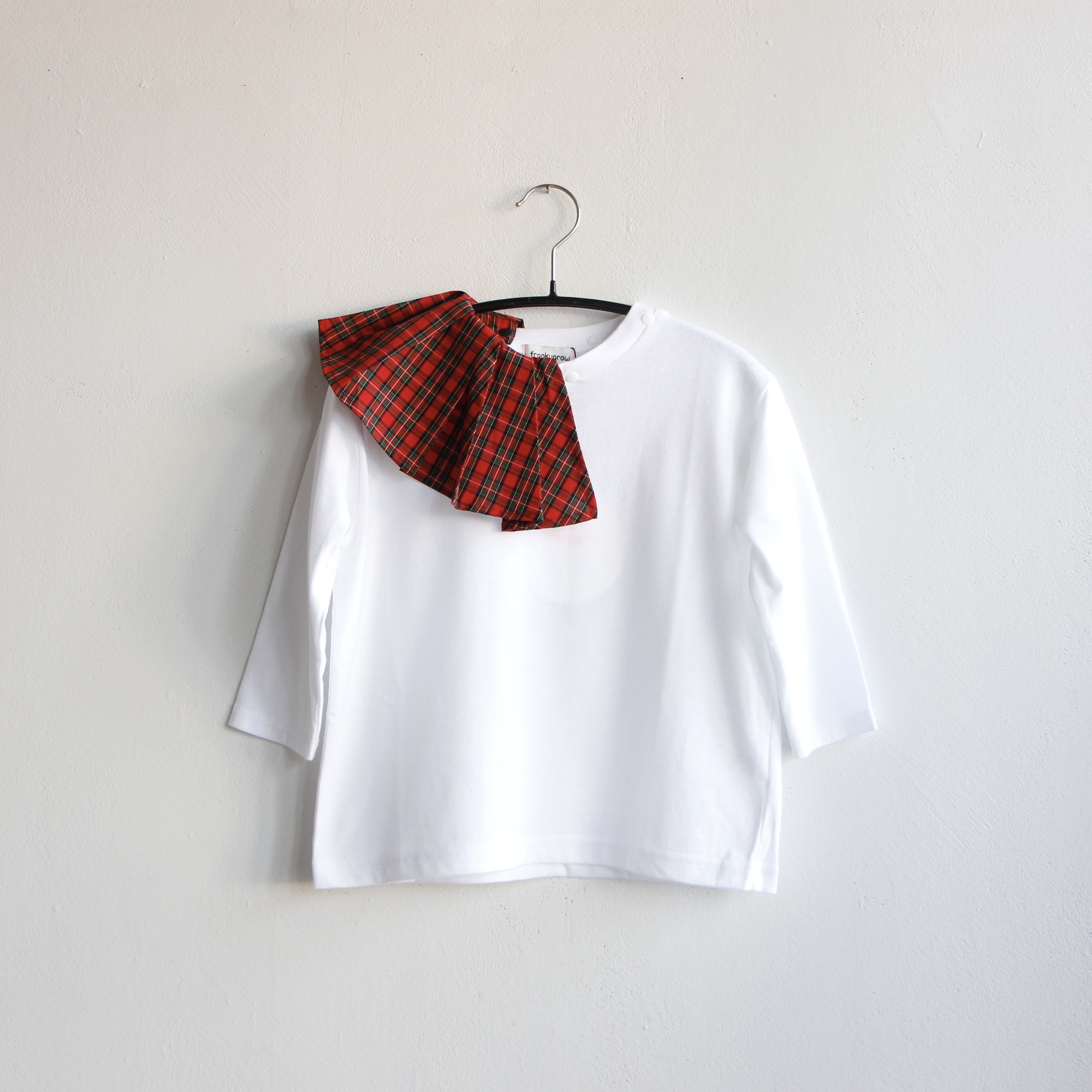 《frankygrow 2020AW》REMOBABLE PLEATS COLLAR LS TEE / red check × white / S・M・L