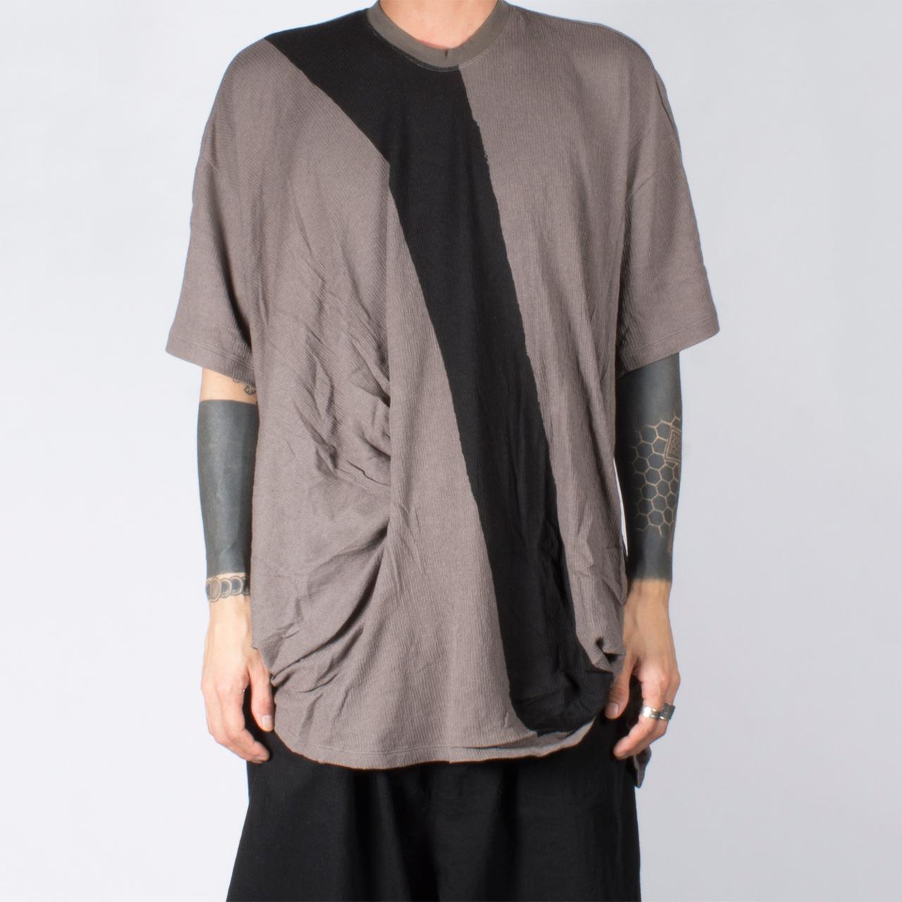 697CUM7-P-GRAY / フロントドレープ Tシャツ
