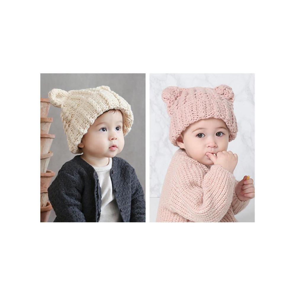 猫帽子(ベビー猫耳ニット帽子)全2種類