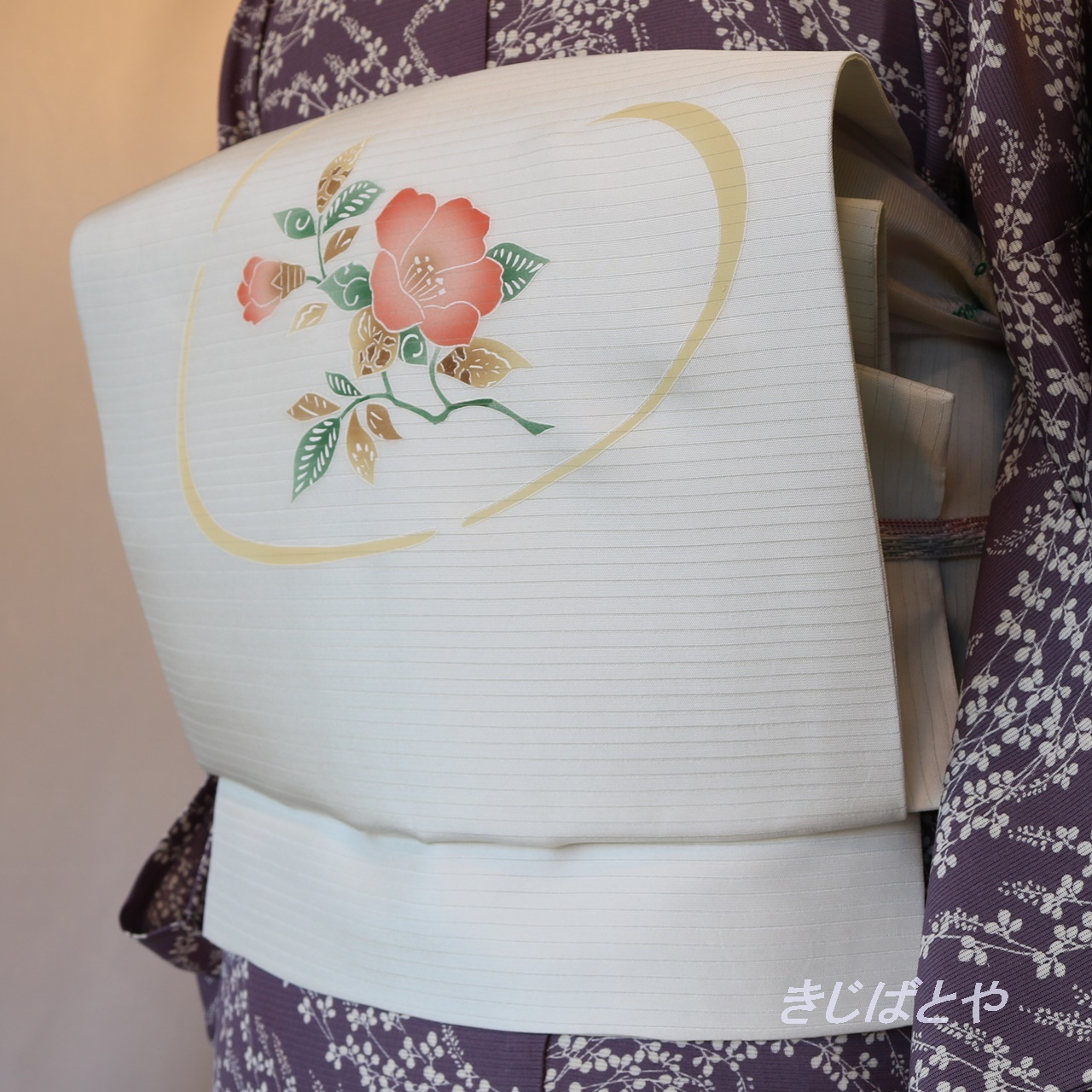 正絹絽 白地に花のなごや