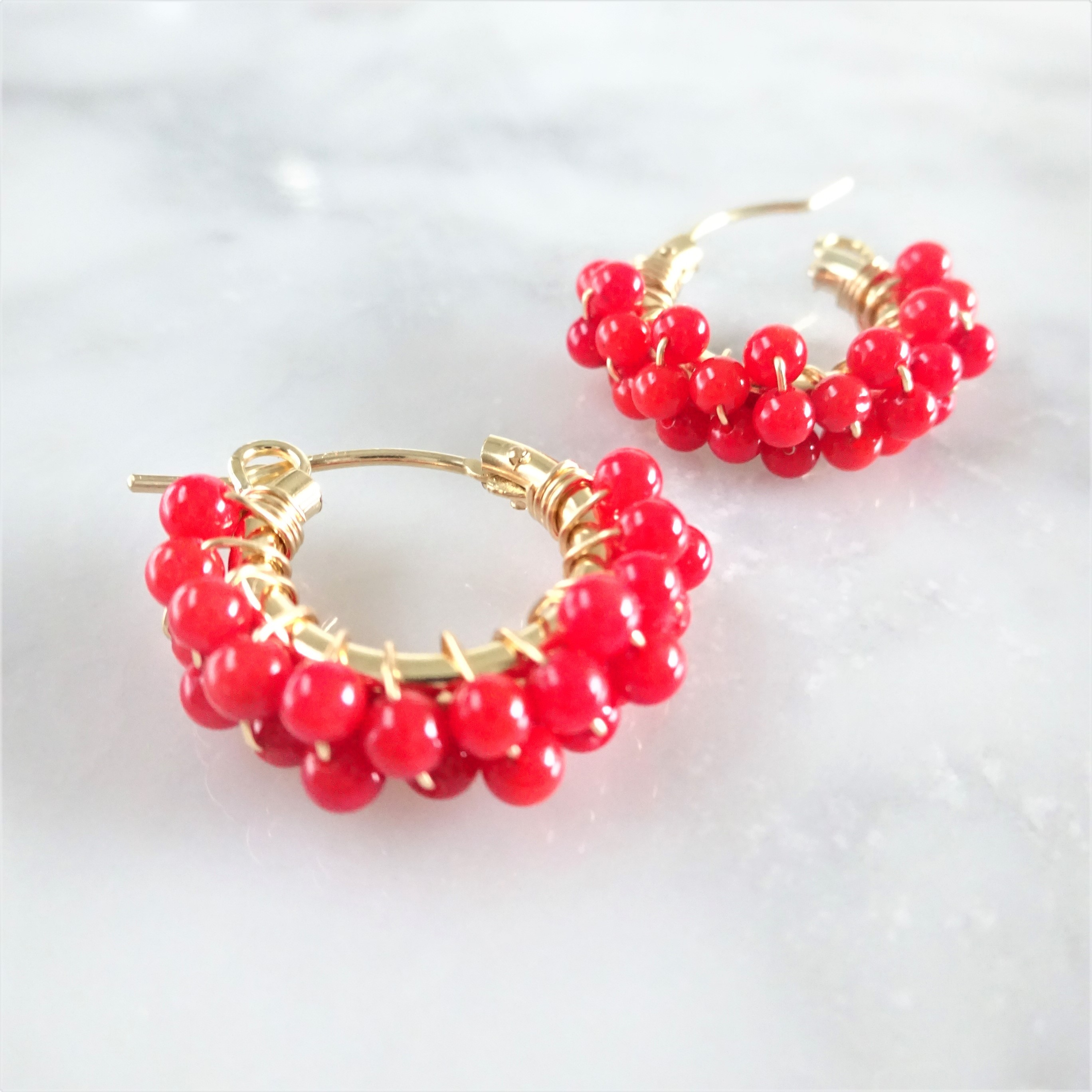 送料無料 14kgf Red Coral♡wrapped pierced earring/earring