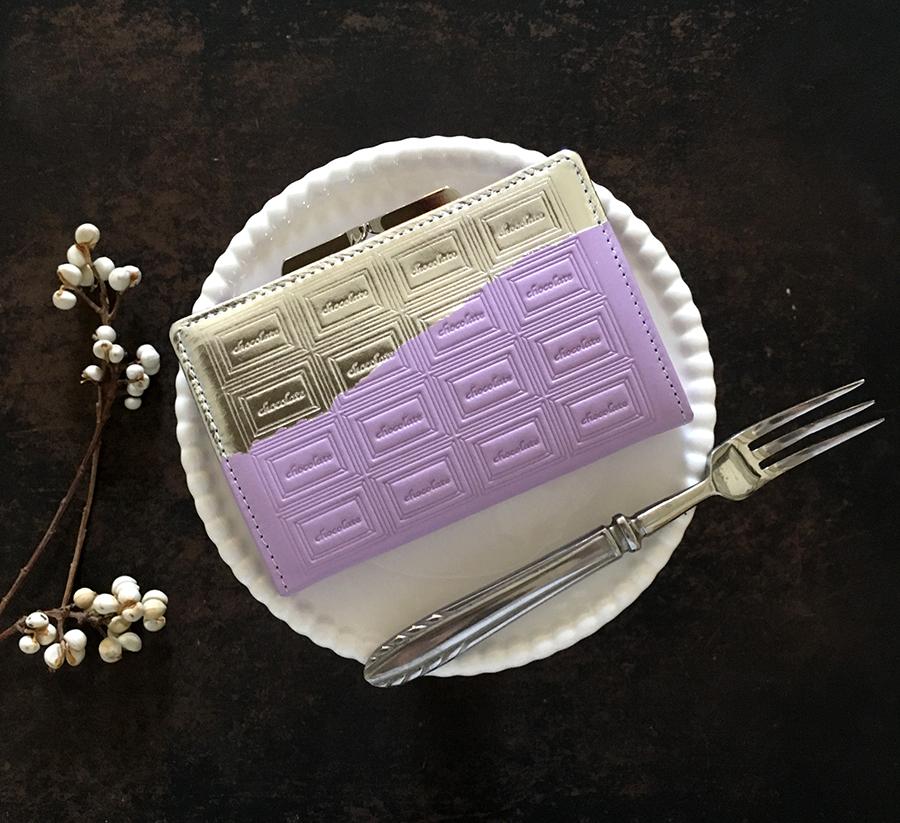 訳あり:革の菫色チョコ がま口カードケース兼財布(銀の包み紙)