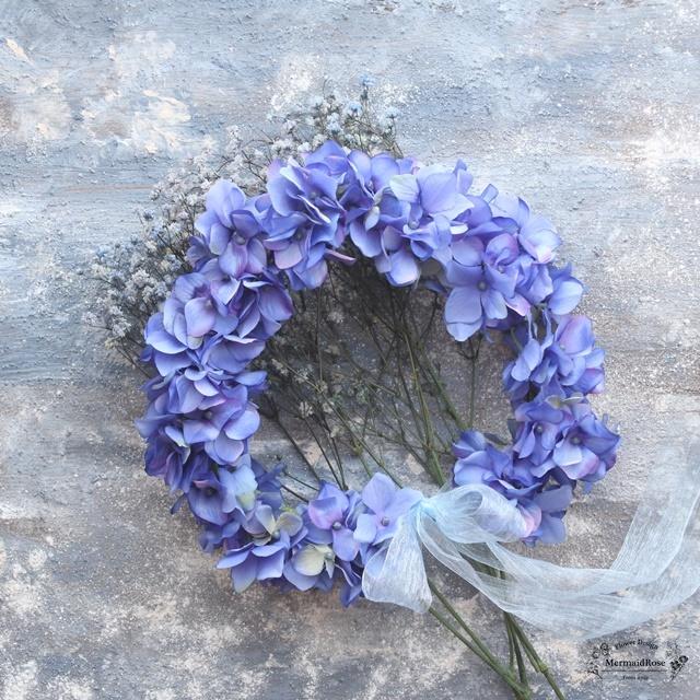 花冠ボリュームアジサイM(17.BLUE)【花かんむり】選べる25色