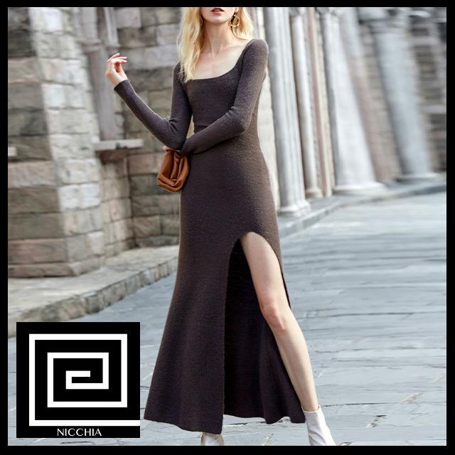 カジュアルスリムサイドスプリットニットドレス