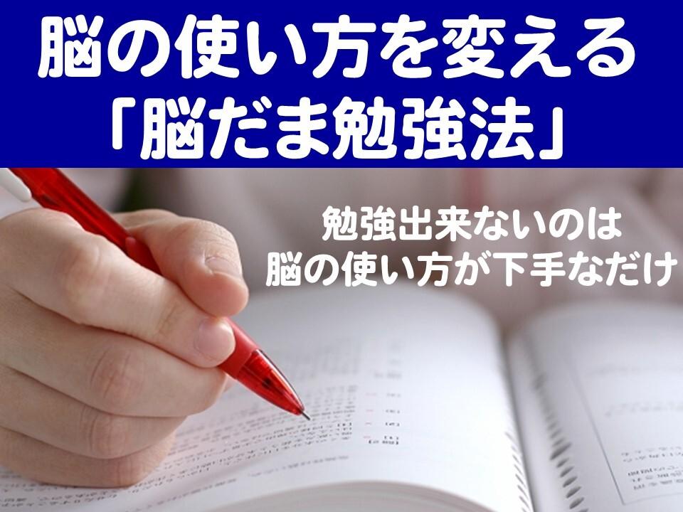 脳の使い方を変える「脳だま勉強法」~勉強できないのは脳の使い方が下手なだけ~