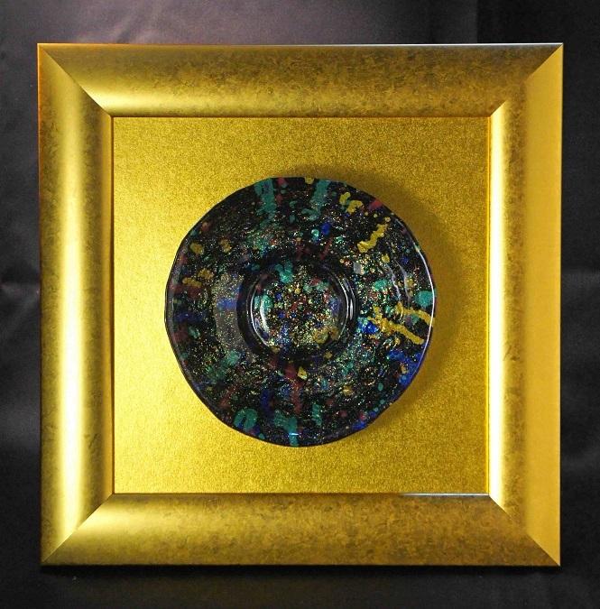 深甚婆娑羅ドローイングによる硝子額装作品「私の中のビッグバン」(ブラック)2-2-B