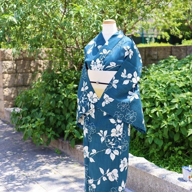 綿麻浴衣 花浅葱色(はなあさぎ)