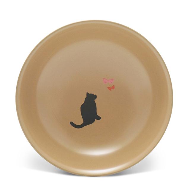 手塩皿4.0白漆猫に蝶(31)