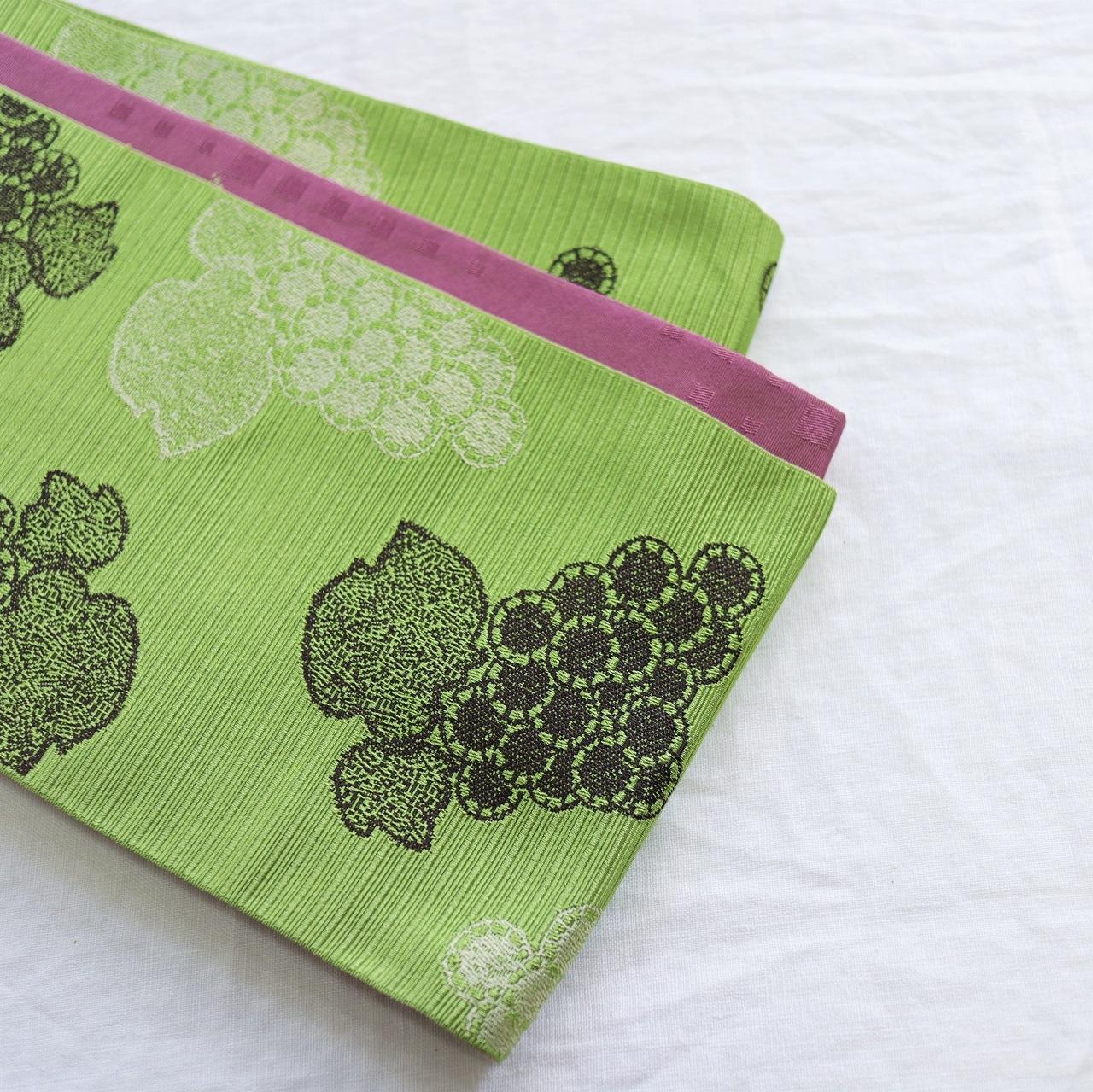 【半巾帯】葡萄 / 黄緑色 ロングサイズ4.4m