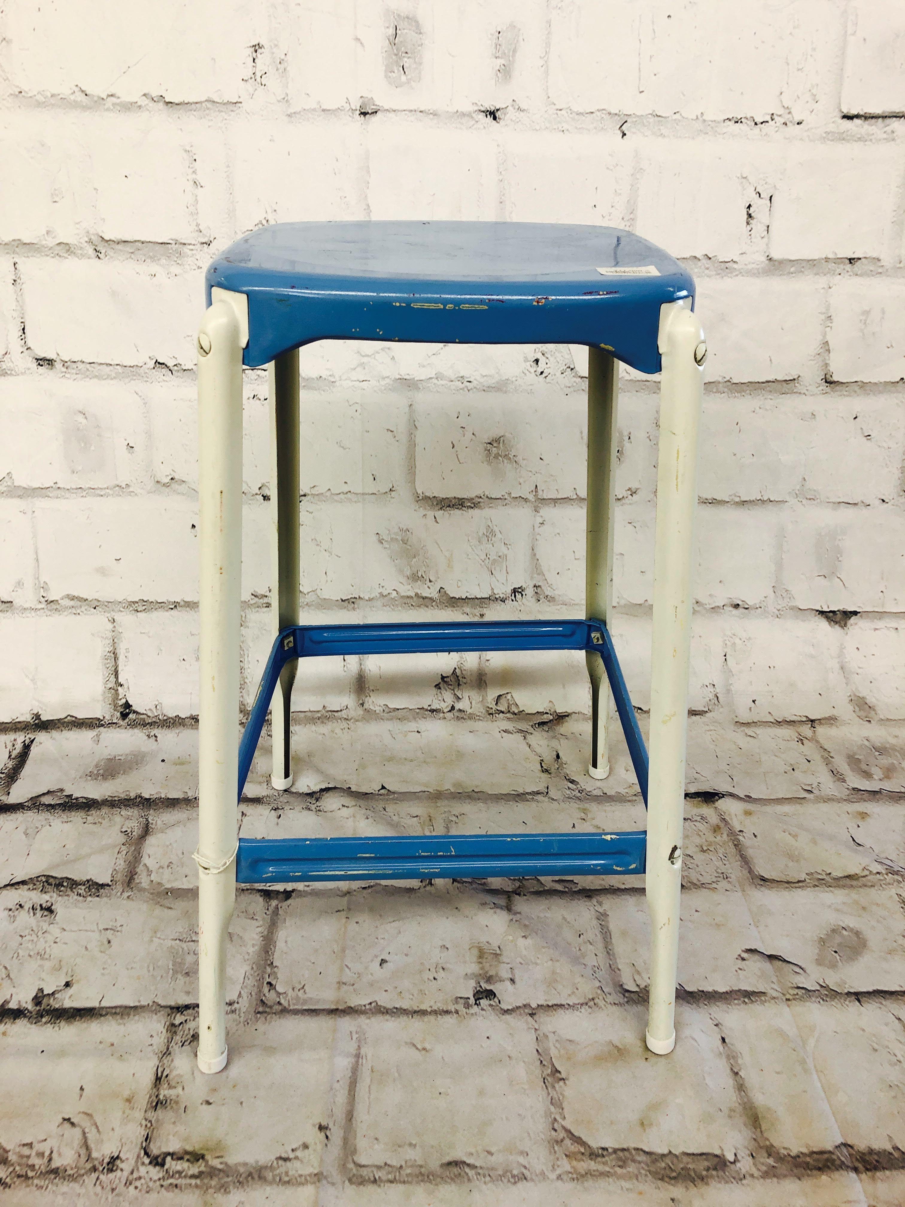 品番3731 インダストリアルスツール チェア スクエア ブルー&ホワイト 椅子 インテリア ディスプレイ ヴィンテージ