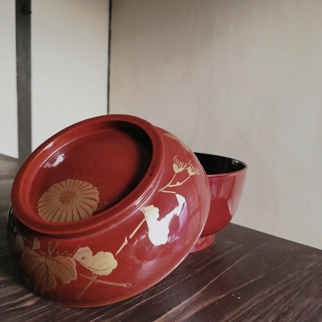 漆塗 菊蝶蒔絵 菓子椀【大正】