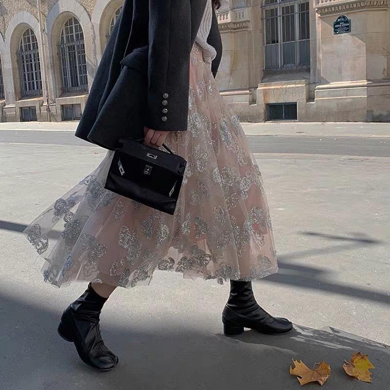 glitter flower lace skirt