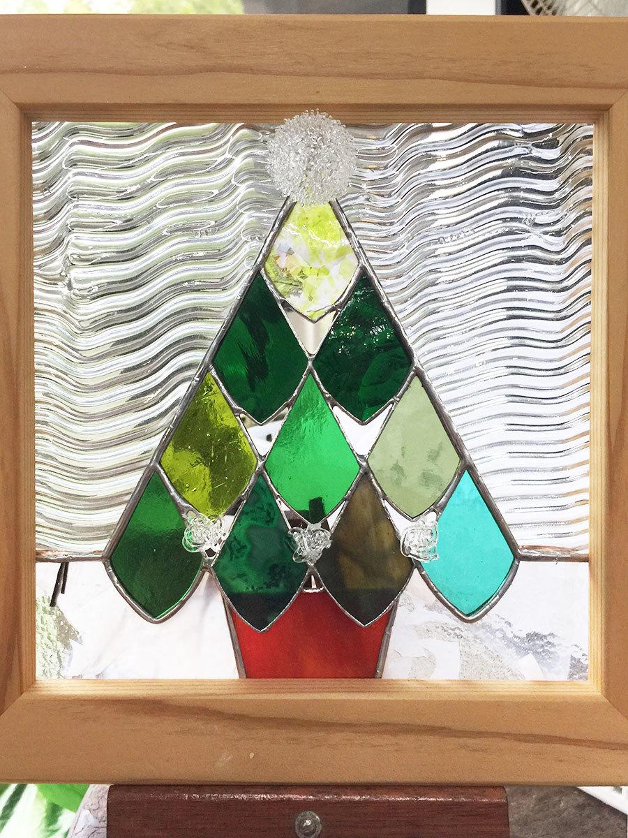 クリスマスツリー(ステンドグラスのアートパネル) 02140003