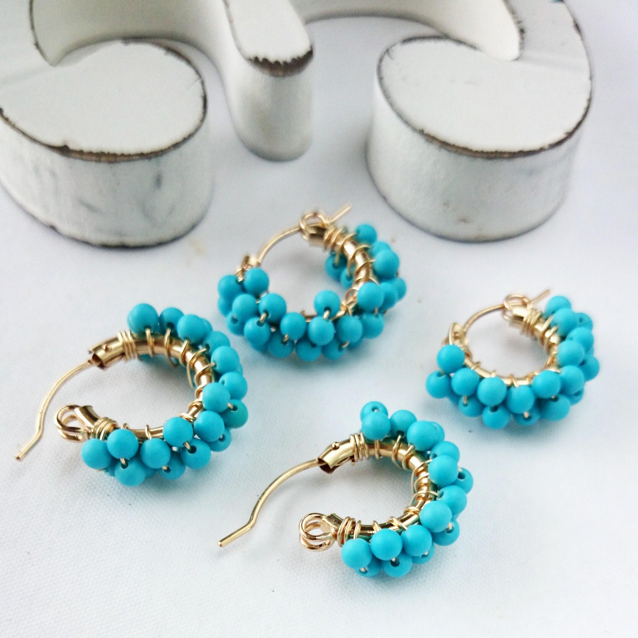 送料無料 14kgf Turquoise*wrapped pierced earring/earring