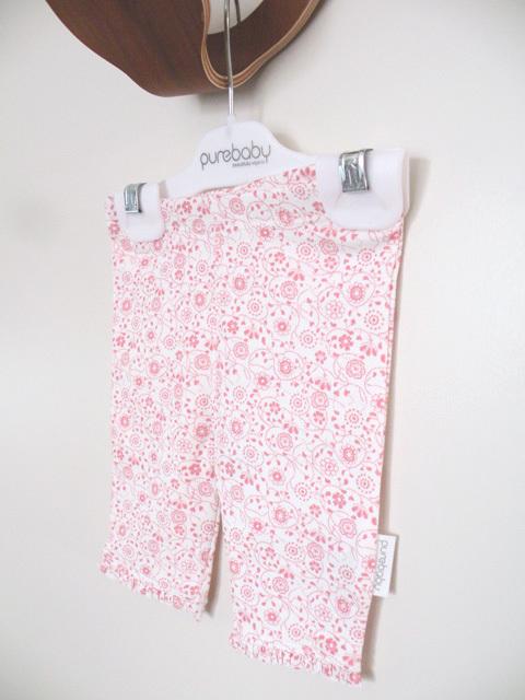 オーガニックコットン フリルレギンス ベビー服 ピンクフラワー 【purebaby】