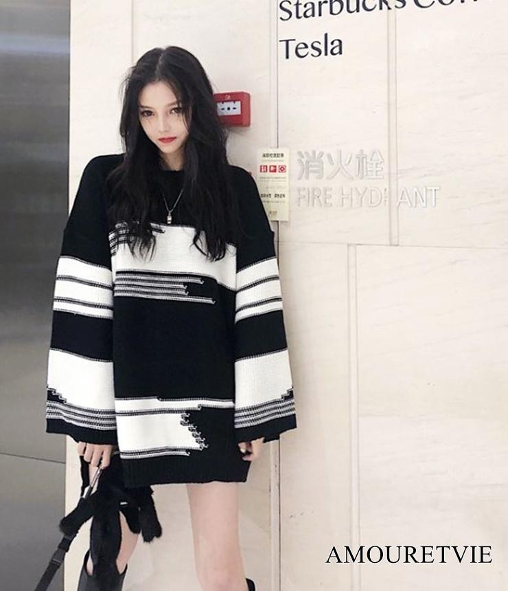 2019 秋 レディース 新作 トップス セーター ボーダー 大きいサイズ ビッグサイズ オーバーサイズ オルチャン 韓国ファッション 974