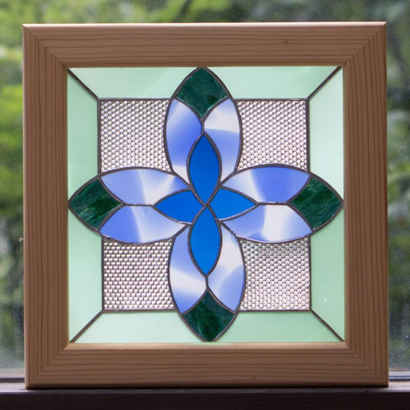 ブルーフェザー(ステングラスのアートパネル) 03050101
