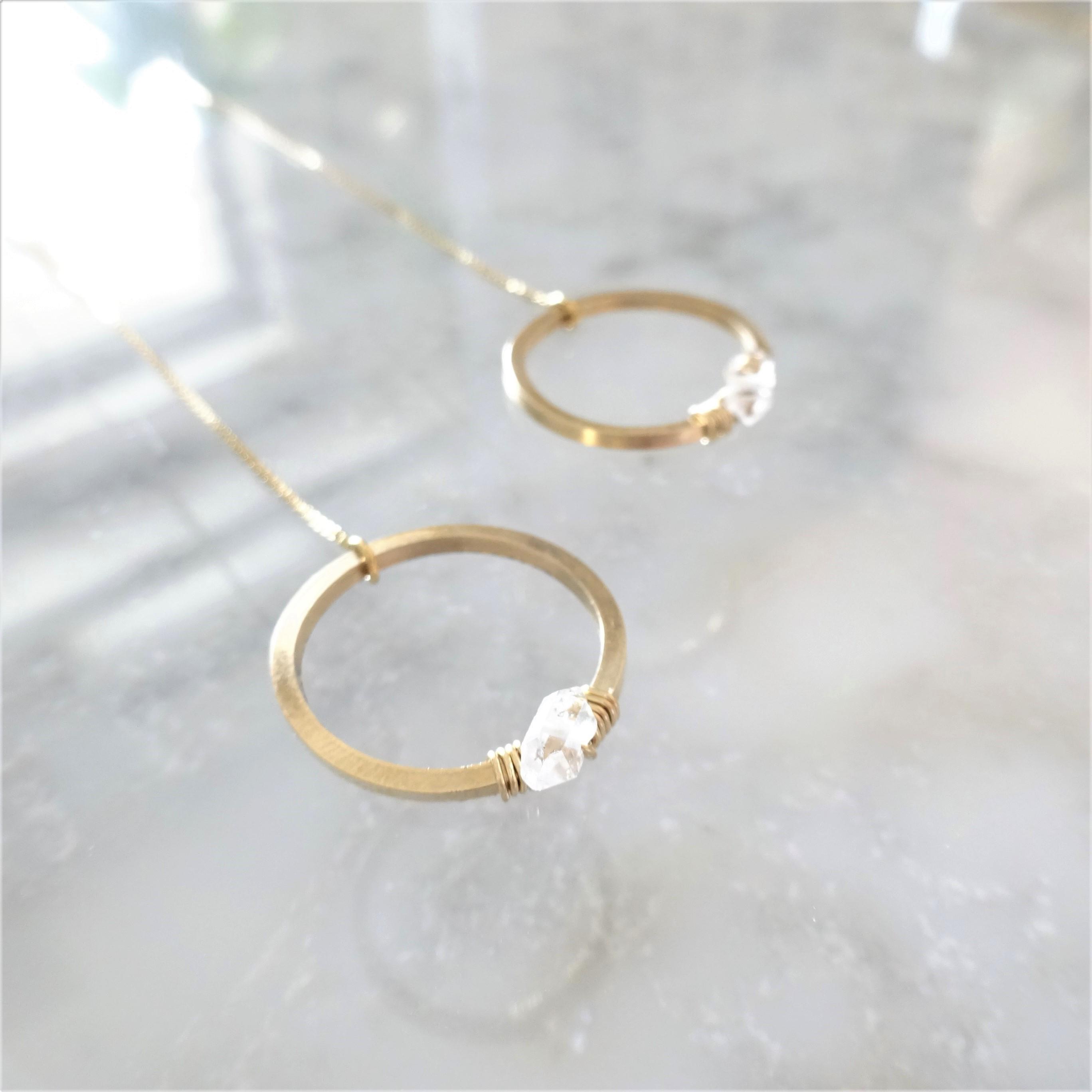 14kgf*Herkimerdiamond CIRCLE American pierced earring