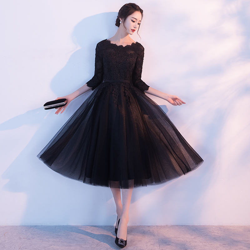 ☆刺繍入りメッシュレイヤードミディドレス◆ブラック