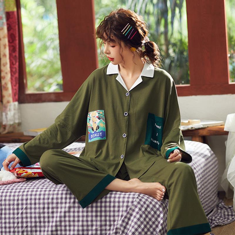 【パジャマ】2点セットプリントカジュアルゆったり長袖パジャマ25632028