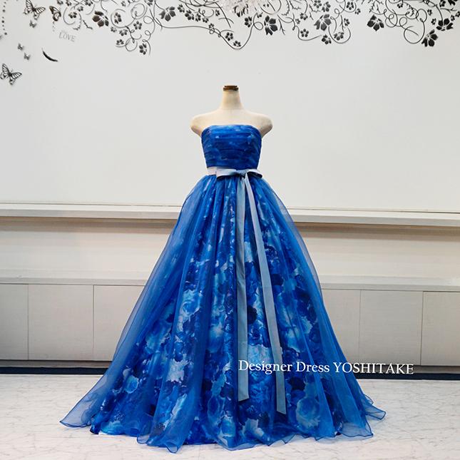 【複数ドレスの画像あり】【オーダー制作】ウエデイングドレス(パニエ無料) ブルー花柄&チュールまたはオーガンジー 披露宴/二次会ドレス ※制作期間3週間から6週間