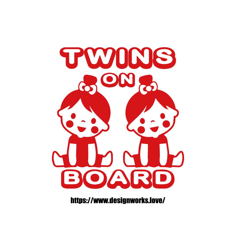全10色 TWINS ON BOARD GIRL&GIRL ステッカー