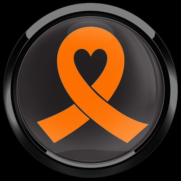 ドームバッジ(CD0984 - ORANGE RIBBON BLACK (LEUKEMIA)) - 画像2