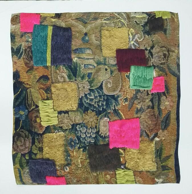 オレリーマティゴ タペストリー ブラウン シルク スカーフ