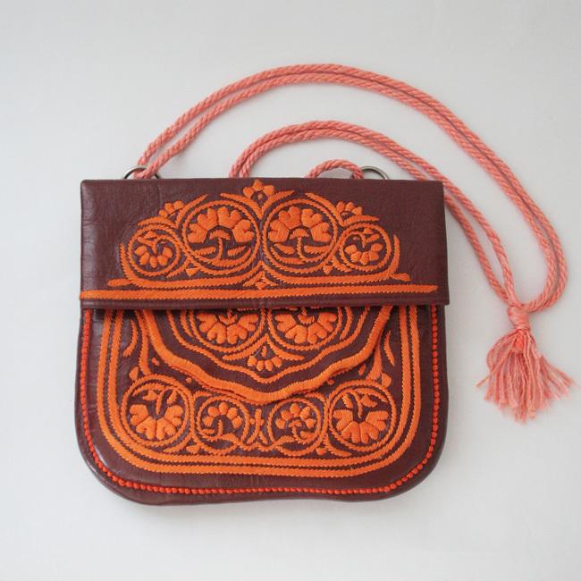 刺繍革バッグ /155/ MOROCCO  モロッコ