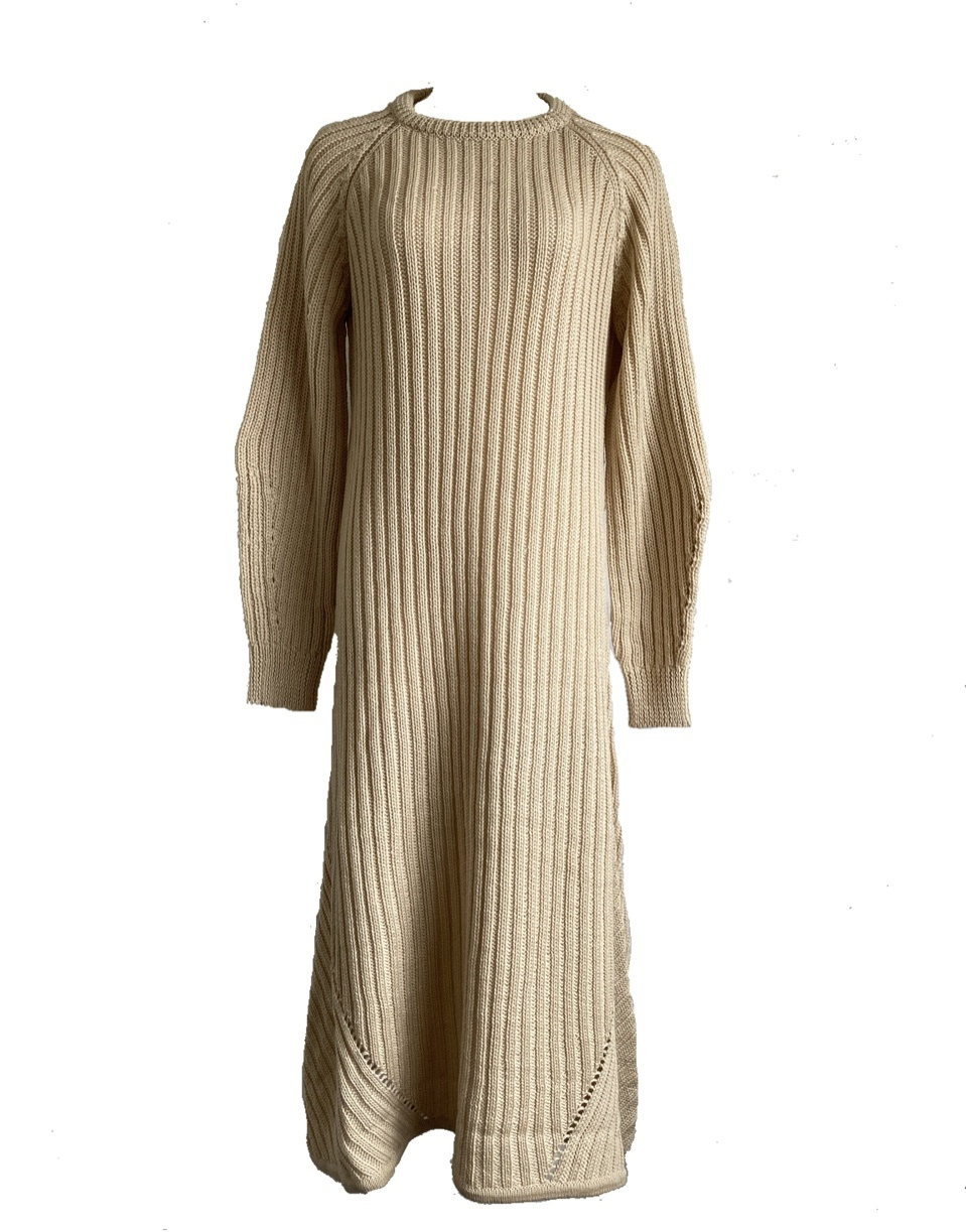 Wool long knit onepiece (vanilla )
