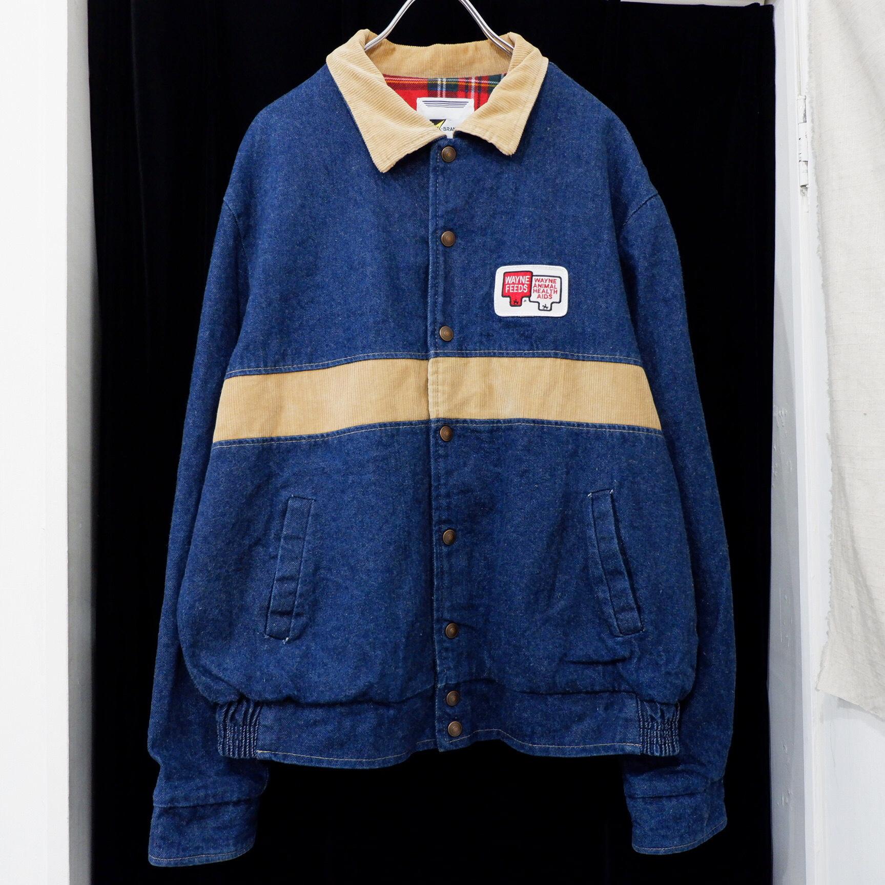 アメリカ古着 1980s USA製 企業ロゴ デニム × コーデュロイ ジャケット