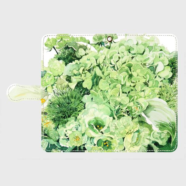 Green bouquet 手帳型スマホケース Android Lサイズとiphoe6plus ,iphone7plus