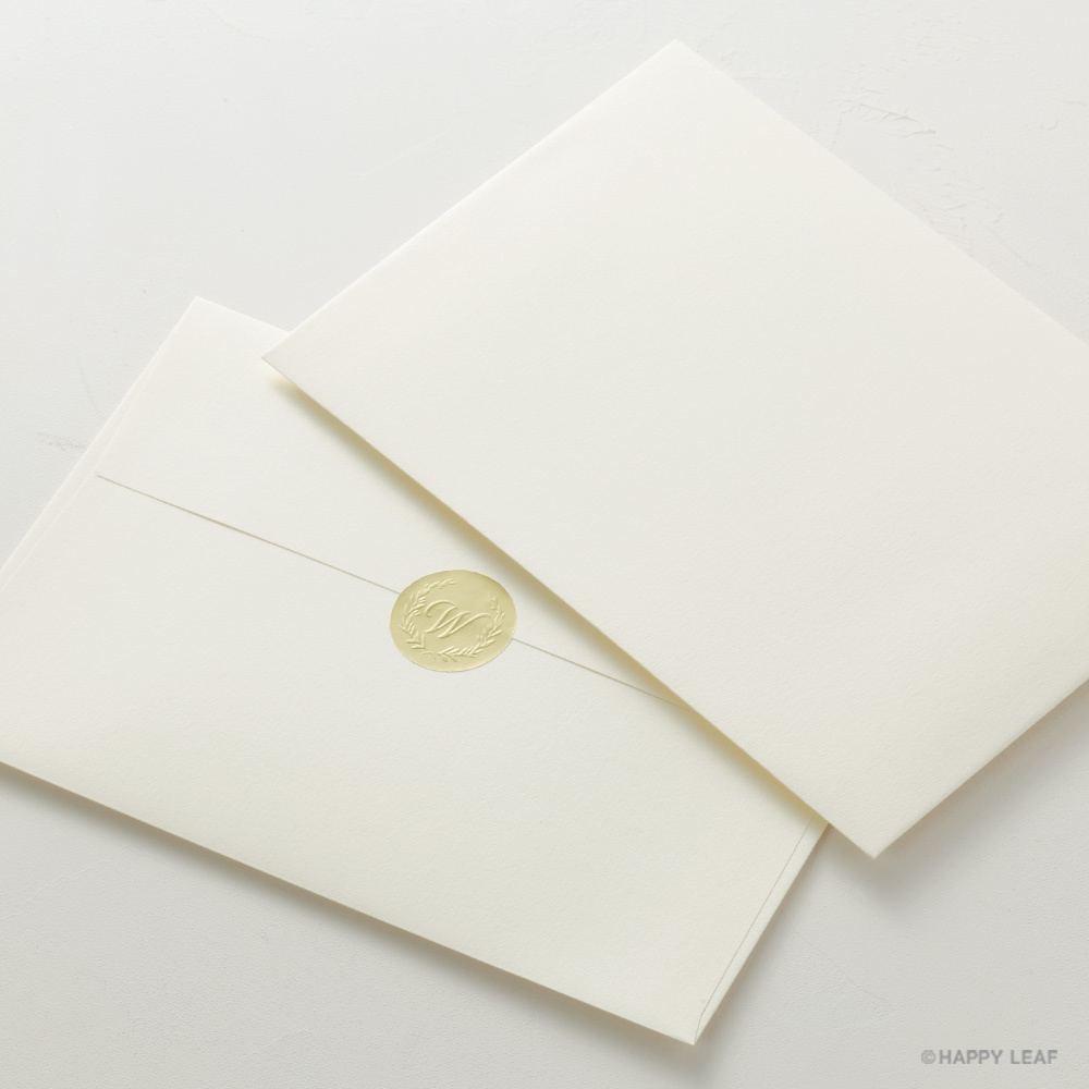 コットン封筒(カマス型) ナチュラル(洋1)& エンボスシール/10枚セット