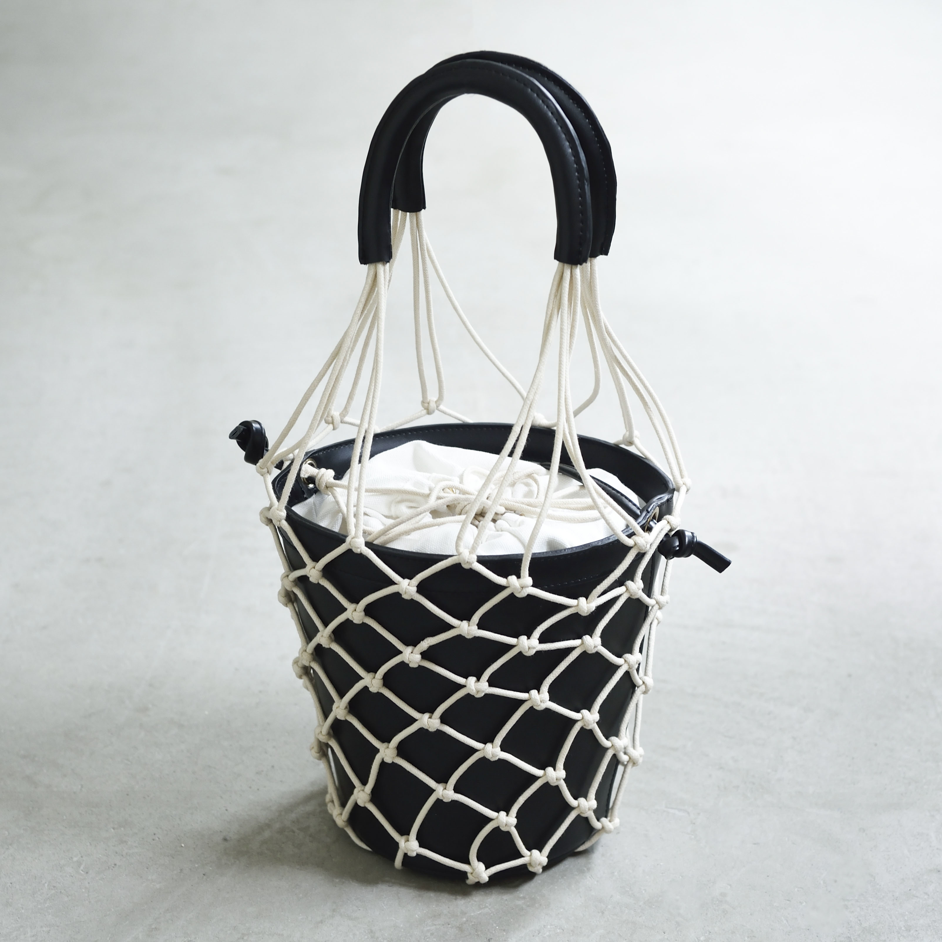 【Mesh-Leather-Basket 】Black